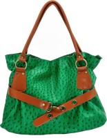 Stylocus Ostrich Textured Faux Leather Hand-held Bag Green