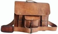 Z1 Handmade Official Look Leather Grip Handle Messenger Bag (Brown)