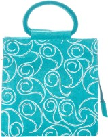 Jute Cottage 10 X 10 All Over Zipper Hand-held Bag (Peacock Blue)