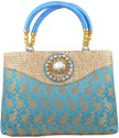 Freddys Ethnic Stone Work Hand-held Bag - Blue