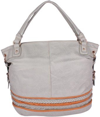 AAR Flamboyant Leather with Stylish Border Hand Bag Light Grey