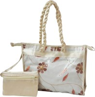 Fashionista Trendy Row Silk Hand-held Bag (Cream)