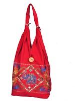 Domestiq Zipper Style Patch Work Jhola Shoulder Bag Red