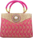 Freddys Ethnic Stone Work Hand-held Bag - Pink