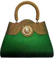 Bhamini Antique Handle Ethnic Hand-held Bag - Green-01
