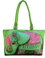 Shilpkart Digital Elephant Print Hand-held Bag (Green)