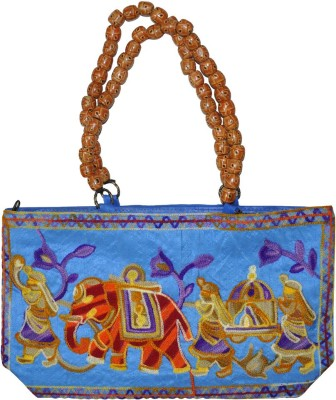 Lal Haveli Rajasthani Embroidery Work Bag Hand-held Bag Blue