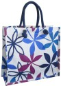 Earthbags Floral Jute ??? Cotton Blend Bag With Zipper Pocket Tote - Blue