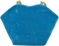 Freddys Velvet Style Stone Work Hand-held Bag - Blue