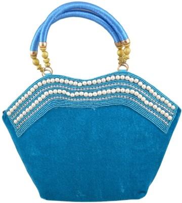Freddys Velvet Style Stone Work Hand-held Bag - Blue