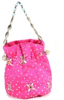 Arisha Kreation Co Smart Traditional Gotta Patti Flower Stones Motif Design Pouch Potli Pink