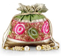Ahankara Pouch Potli Green And Pink