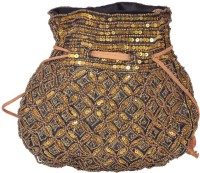 Domestiq Matka Beads Sequins Pouch Potli (Black)