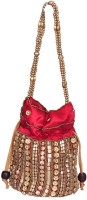 Domestiq Beads Sequins Pouch Potli (Red)