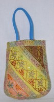 Lal Haveli Indian Cotton Fashion Shoulder Bags Adorn With Embroidered Patchwork & Sequin Work Tote Multicolor