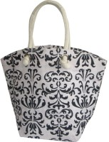 Earthbags Boat Shape With Scroll Print Hand-held Bag - Black