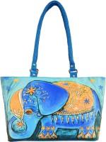 Shilpkart Digital Elephant Print Hand-held Bag (Turquoise Blue)