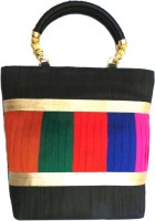 Bhamini Raw Silk With Multicolour Pleated Work Hand-held Bag (Black-01)