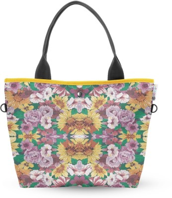 Atrangee Floral Ignition Wide Tote Green, Yellow