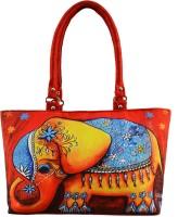 Shilpkart Digital Elephant Print Hand-held Bag (Red)