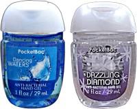 Bath & Body Works Set Of 2 Dancing Waters, Dazzling Diamond Anti Bacterial Gel Hand Sanitizer (58 Ml)