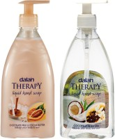 Dalan Therapy Liquid Soap - Combo Pack Of Chocolate Milk & Cocoa Butter And Coconut (400 Ml) Each & Vanilla Imported From Turkey Hand Wash (800 Ml)