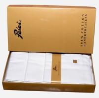Paras Malmal(301-XL)-Men's 100% Natural Premium Cotton Milky White Soft Hanky Handkerchief Pack Of 12