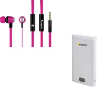 Candytech 82378 USB Power Supply 12000 MAh Power Bank And S-30 Stereo Dynamic Earphones Combo Wired Headphones (Pink, White, In The Ear)
