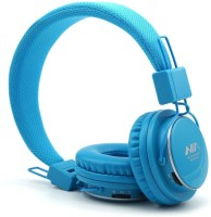 NIA Collapsible Micro SD Player FM Stereo Radio MP3 Player Headphones With Mic Stereo Dynamic Headphone Wireless Headphones (Blue, Over The Ear)