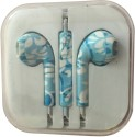 Karp Fancy Printed Designer Earphone For Apple IPhone/Android Mobiles/Tablets With Mic (Aqua Blue) Wired Headset (Blue)