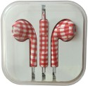Karp Fancy Printed Designer Earphone For Apple IPhone/Android Mobiles/Tablets With Mic (Red Chex) Wired Headset (Red)