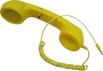 Storite 3.5mm Classic Retro Phone Receiver With Volume Remote Control Yellow