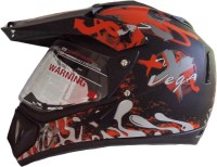 Vega Off Road Dull Shocker D/V Motorsports Helmet - M (Black, Orange)
