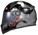 LS2 Wolverine Air Pump Motorsports Helmet - L - Glossy Black, Grey