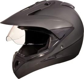Studds Motocross With Visor Plain Motorsports Helmet - L - Matt Black
