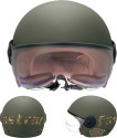 Fastrack Half Face with Visor Motorsports Helmet - Large - Green Matt