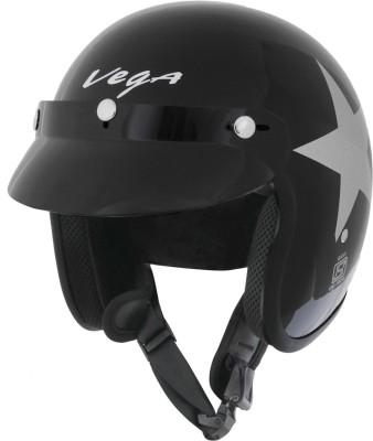 Vega Jet Star Motorsports Helmet - Medium - Black, Silver