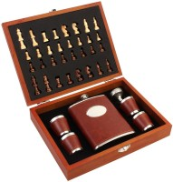 7Trees Stainless Steel 8 Oz/236 Ml Faux Leather Hip Flask Set With Wooden Chess Board - Hip Flask (236 Ml)