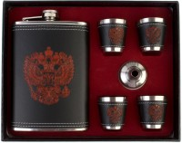 7Trees Russian Coat Of Arms Stainless Steel/Faux Leather 9 Oz/266 Ml With 4 Shot Glasses And 1 Funnel - Hip Flask (266 Ml)
