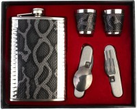 7Trees Stainless Steel 9 Oz/266 Ml Hip Flask Set With Shot Glasses, Spoon, Fork, Knife & Bottle Opener - Hip Flask (266 Ml)