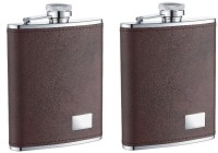 I-Gadgets Pack Of 2 Premium Faux Leather Brown Hip Flask (236 Ml)