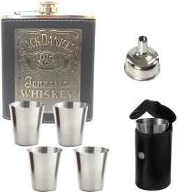 Soy Impulse Jack Daniels Stylish Leather Bar Set Hip Flask