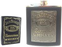 Soy Impulse Combo Of Stylish Lighter And Jack Daniel Stylish Black Leather Hip Flask (236 Ml)