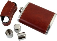 GUOTAI Stainless Steel Leatherette Hip Flask With 3 In-Built Shot Glasses - 10 OZ (296 Ml) Hip Flask (296 Ml)
