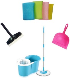 EI Combo Set Wiper Dust Pan Scrubbers Home Cleaning Set