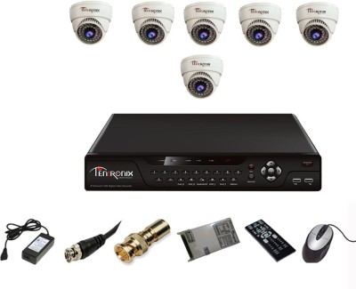 Tentronix T-8AVR-6-D10 AHD DVR , 6(1 MP 36 IR Indoor AHD ) Dome Cameras