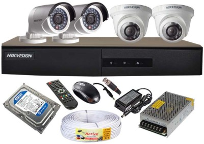 Hikvision DS-7204HGHI-E1 4-Channel Dvr , 2(DS-2CE56COT-IR) Dome,2(DS-2CE16COT-IR) Bullet Cameras
