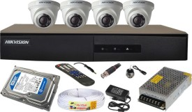 Hikvision 4CH-DS-7204HGHI-E1 Turbo 4 Channel Dvr 4 Dome CCTV Cameras (With 4TB H.D,Mouse,Remote,Power Supply,BNC & DC Connectors,Power Adopter,Cable)