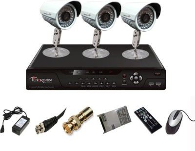 Tentronix T-4AVR-3-B10 4Channel AHD DVR 3 (1 MP 36 IR) Bullet Cameras