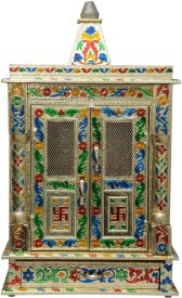 Pavitra Mandir 10 x 6 Door Mina Work Carving Wooden, Aluminium Home Temple